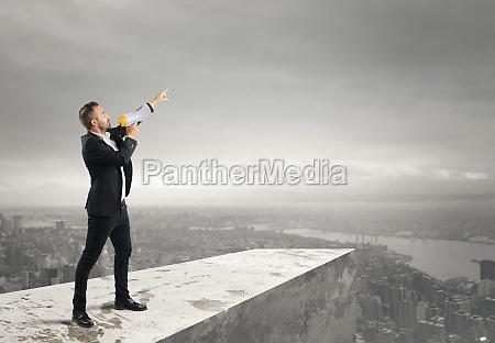 authoritarian announcement to the megaphone