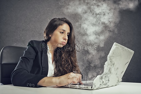 woman stressed by overwork with the