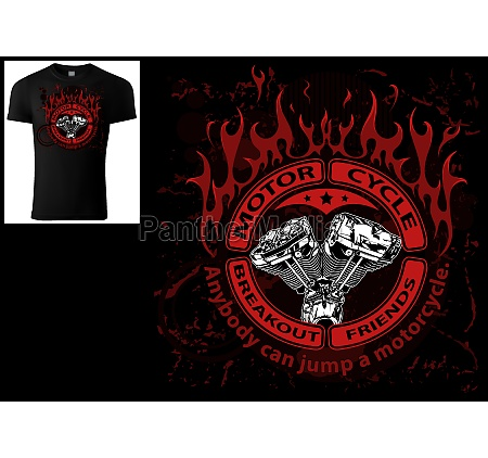 t shirt design with engine and
