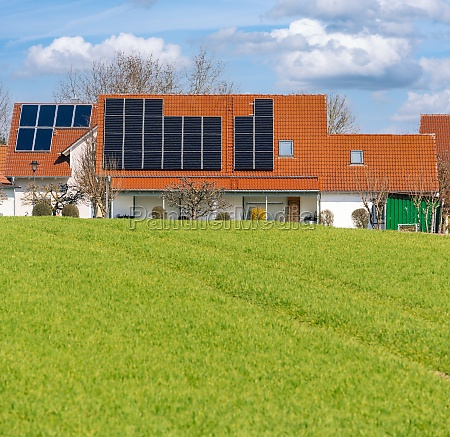 innovative house with solar collectors building