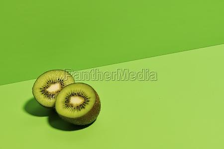 half of delicious ripe kiwi fruit