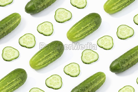cucumber pattern isolated on white background