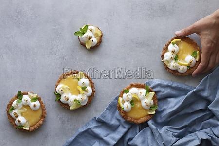 set of yummy homemade lemon tarts