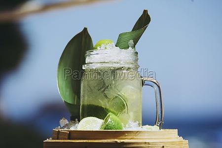 glass mug with refreshing cold cocktail