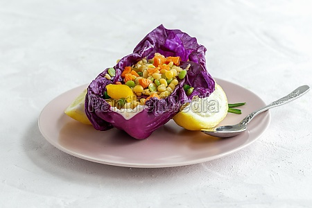 purple cabbage leaf filled with mix