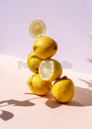 fresh lemons stacked in shape of