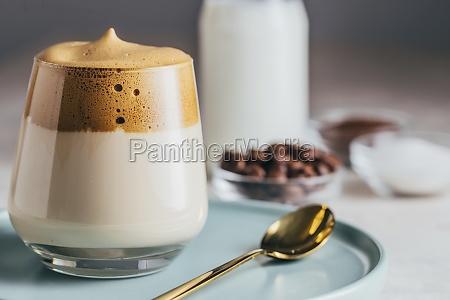 cold dalgona coffee in glass