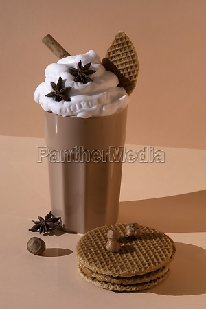 chocolate cocktail with whipped cream star