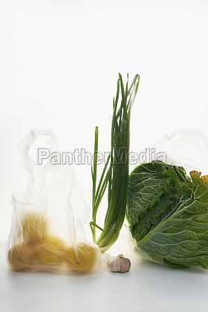 food in plastic bags on white