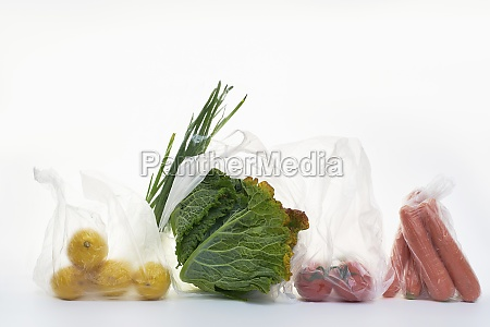 still life with food in plastic