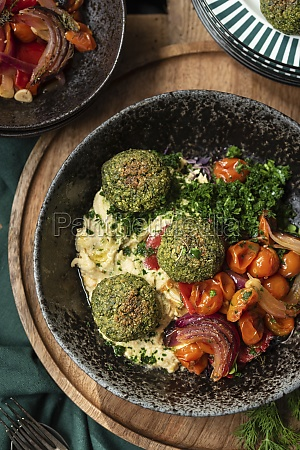 vegetarian hummus and falafel served with
