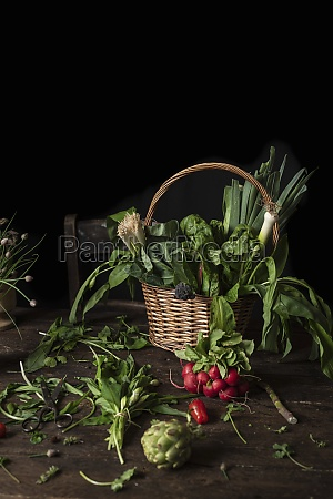 wicker basket with various fresh green