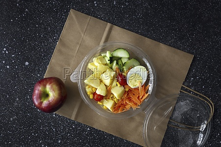 vegetables and boiled egg in plastic