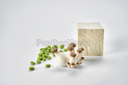 fresh soya beans tofu and king