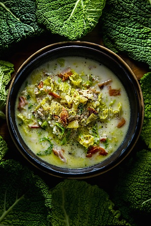portuguese smoked fish soup with savoy