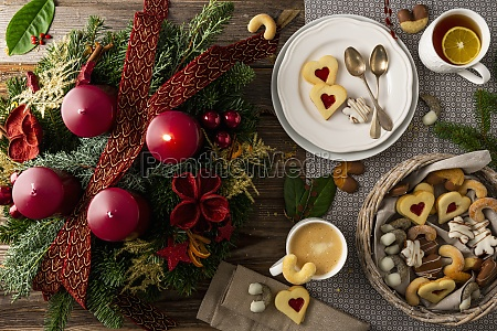 advent wreath next to a plate