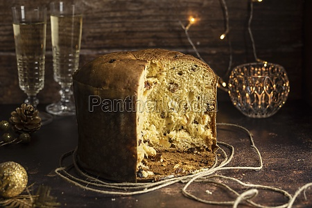 sliced panettone italian christmas dessert
