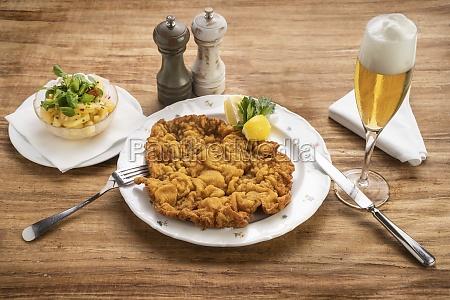 viennese schnitzel with potato salad