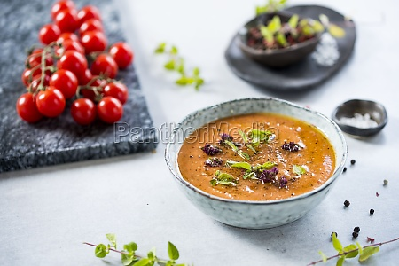 tomatoes soup with herbs