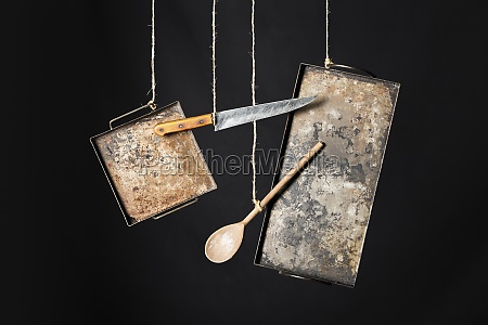 rustic metal baking sheets knife and