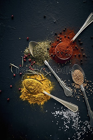 assorted spices in spoons and fresh