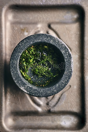 fresh herbs and spices for chimichurri