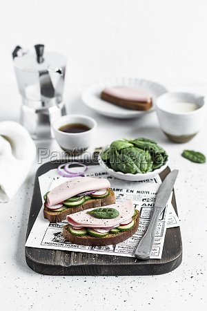 open sausage sandwich