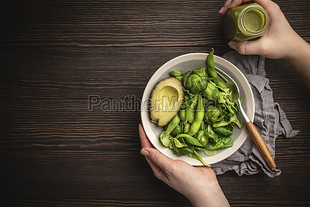green healthy salad with spinach brussels