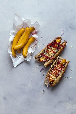 hot dogs with frankfurter sausages