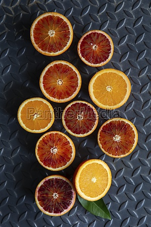 orange and blood orange halves
