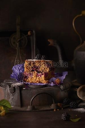 blackberry cake on a vintage baking