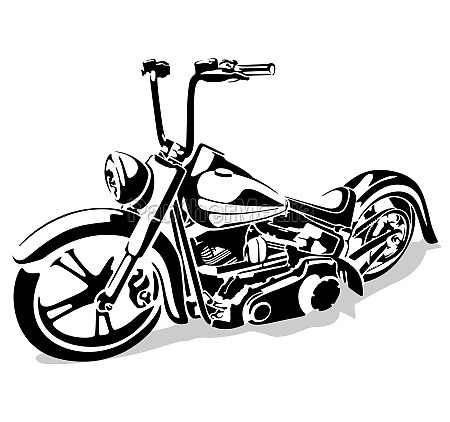 black and white motorcycle drawing