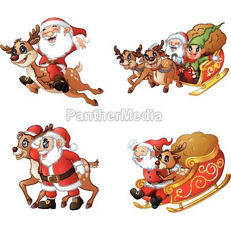 collection of happy santa claus with