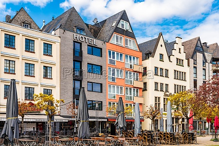 colorful townhouses cologne north rhine westphalia