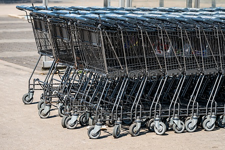 supermarket shopping carts in the store