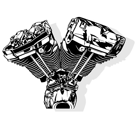 black and white motorcycle engine