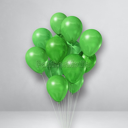 green balloons bunch on a white
