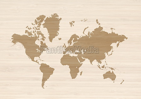 world map on beige wooden wall