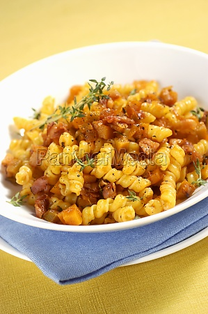 torchietti with pumpkin and bacon