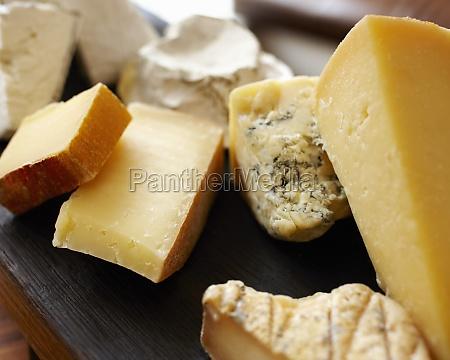 various cheeses close up