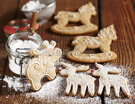 gingerbread biscuits with icing and icing