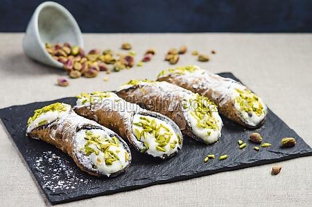 italian sicilian cannoli with sweet ricotta