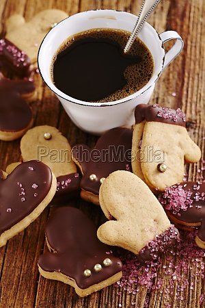 christmas gingerbread cookies with chocolate and