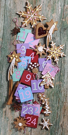 gingerbread biscuits with an advent calendar