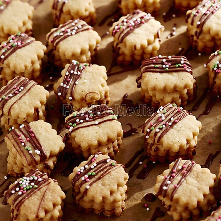 christmas biscuits with chocolate stripes and