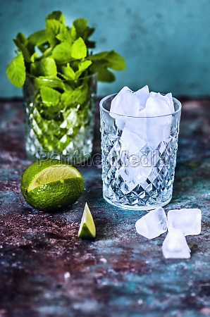 lime mint and ice in a