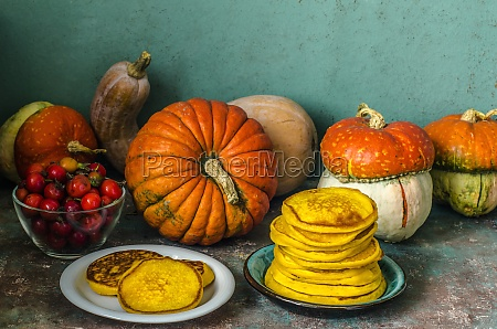 autumn still life with pumpkins and
