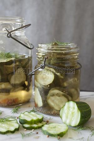 sliced pickling cucumbers marinating in vintage