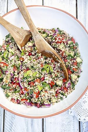 large bowl of lebanese tabbouleh salad