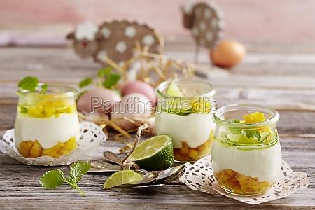 yogurt cream with lime and mango